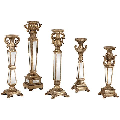Carley Set of 5 Mirrored Pillar Candle Holder