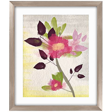 "Watercolor Rose II 26 1/2"" High Framed Abstract Wall Art"