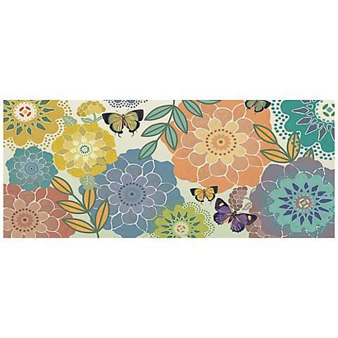 "Butterflies 24"" Wide Canvas Abstract Floral Wall Art"