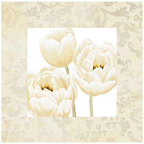 """White Poppies II 26"""" Square Canvas Floral Wall Art Print"""