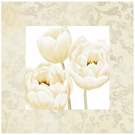 "White Poppies II 26"" Square Canvas Floral Wall Art Print"