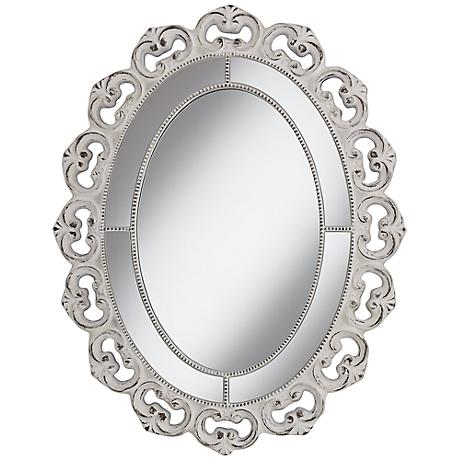 """Astor 38"""" High White Washed Framed Wall Mirror"""