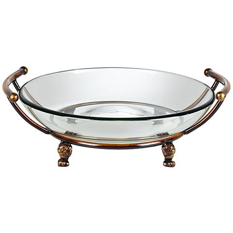Blaise Bronze Stand with Handles and Clear Glass Bowl