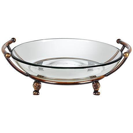 Bronze Stand with Handles and Clear Glass Bowl