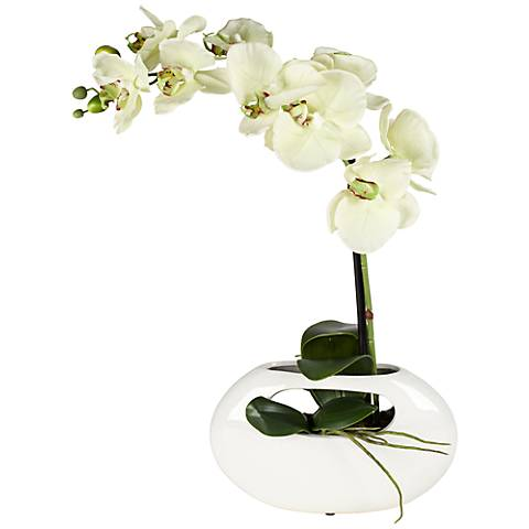 "Single Stem Yellow 16"" High Faux Orchid in White Ceramic Pot"