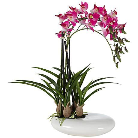 """Three Stem 18 1/2"""" High Faux Purple Orchid in White Pot"""