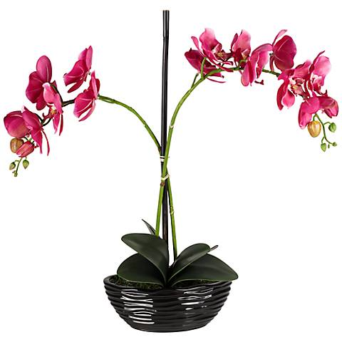 "Single Stem 20"" High Single Purple Faux Orchids in Black Pot"