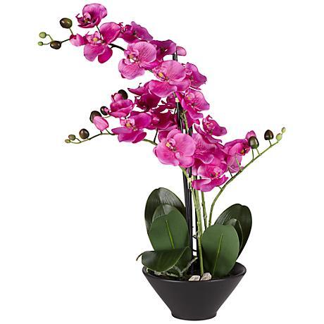 "Multi Stem Purple 21"" High Faux Orchids in Black Pot"