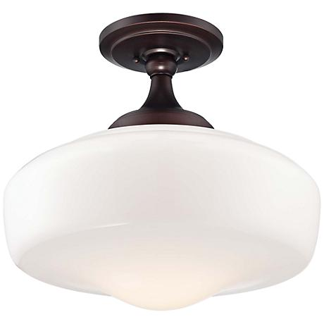 """Schoolhouse Style 17 1/4"""" Wide Brushed Bronze Ceiling Light"""