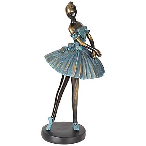 """Ballerina in Verde Bronze 12"""" High Decorative Sculpture"""