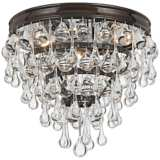 "Crystorama Calypso Bronze 10"" Wide Crystal Ceiling Light"