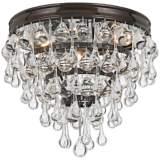 "Crystorama Calypso Bronze 10"" Wide Crystal Ceiling Light"