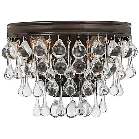"Crystorama Calypso Bronze 10 1/2"" Wide Crystal Wall Sconce"