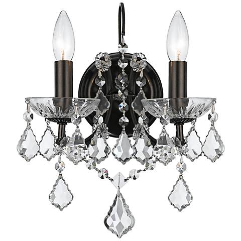 "Crystorama Filmore Bronze 12 1/2"" High Crystal Wall Sconce"