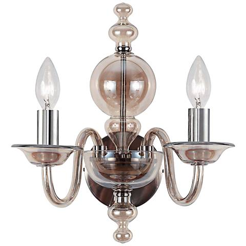 "Crystorama Harper 12"" High Cognac Glass Wall Sconce"
