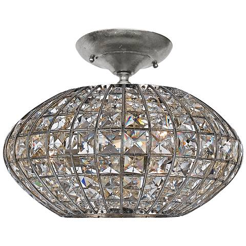 "Crystorama Solstice 12"" Wide Crystal Ceiling Light"