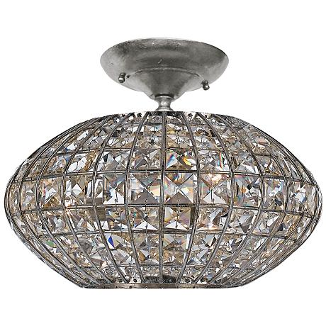 """Crystorama Solstice 12"""" Wide Crystal Ceiling Light"""