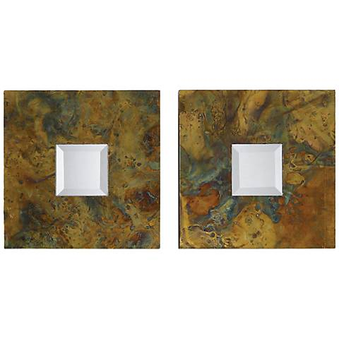 "Set of 2 Ambrosia 13"" Square Oxidized Copper Wall Mirrors"