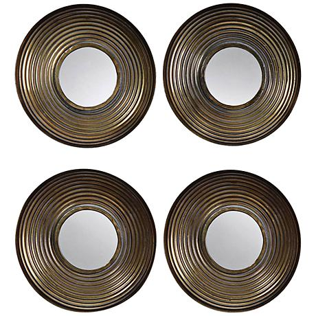 "Set of 4 Tondela 12"" Round Golden Bronze Wall Mirrors"