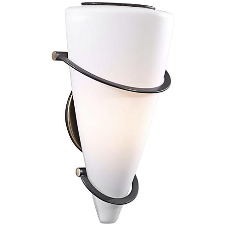 """Holtkoetter Anza Bronze 11 1/2"""" High White Wall Sconce"""