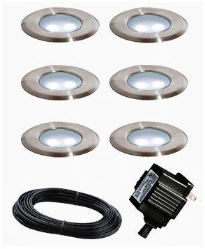 portman set of 6 low voltage stainless steel led deck lights - Led Deck Lights