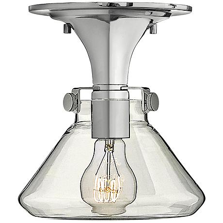 "Hinkley Congress 8"" Wide Clear Glass Chrome Ceiling Light"