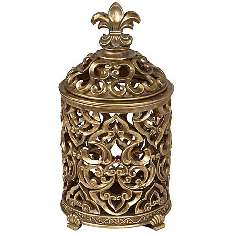 Fleur-de-Lis Tall Antique Gold Box