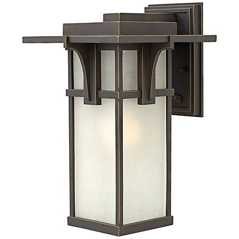 "Manhattan Bronze 15"" High Seedy Glass Outdoor Wall Light"