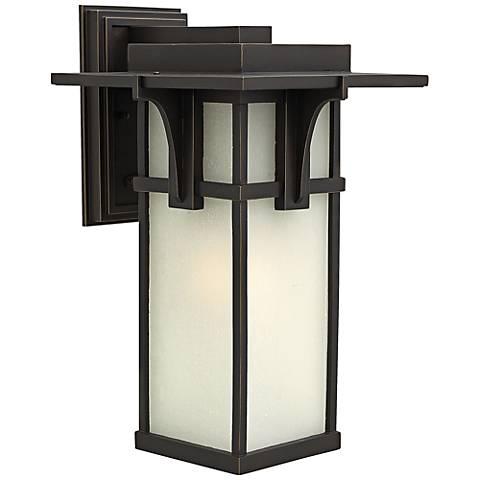 """Manhattan Bronze 18 1/2"""" High Seedy Glass Outdoor Wall Light"""