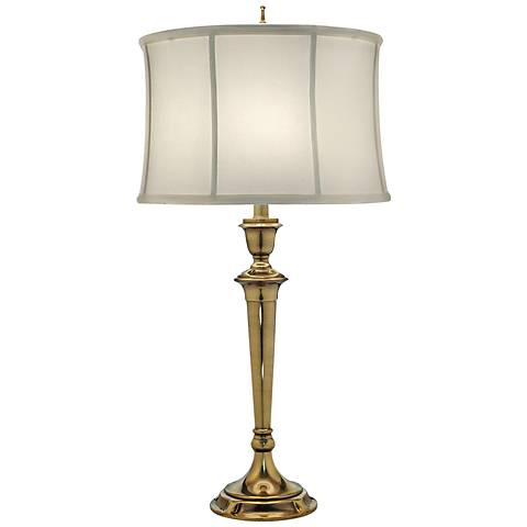 Stiffel Burnished Brass Table Lamp with Off-White Shade