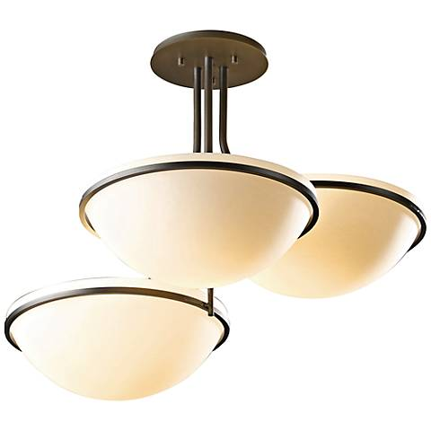 Hubbardton Forge Moonband Smoke 3-Light Ceiling Fixture