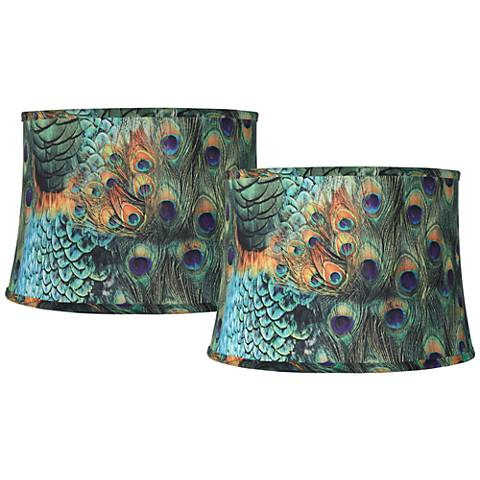 Set of 2 Peacock Print Drum Lamp Shades 14x16x11 (Spider)