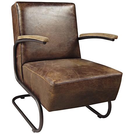 Miles Havana Top-Grain Leather Club Chair
