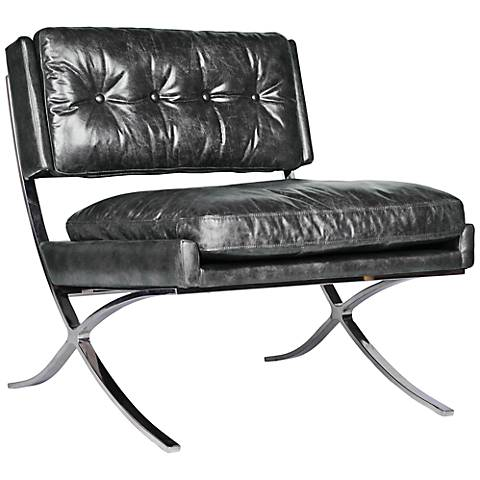 Heathrow Old Saddle Black Top-Grain Leather Lounge Chair