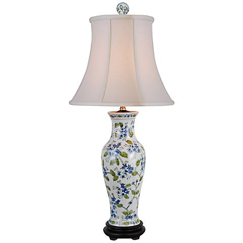 Green And Blue Floral Porcelain Vase Table Lamp