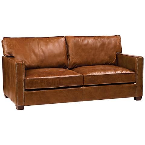 "Carnegie Larkin Cigar 72"" Wide Top Grain Leather Sofa"