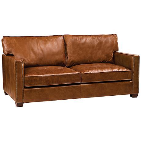 Carnegie Larkin Cigar Top Grain Leather Sofa