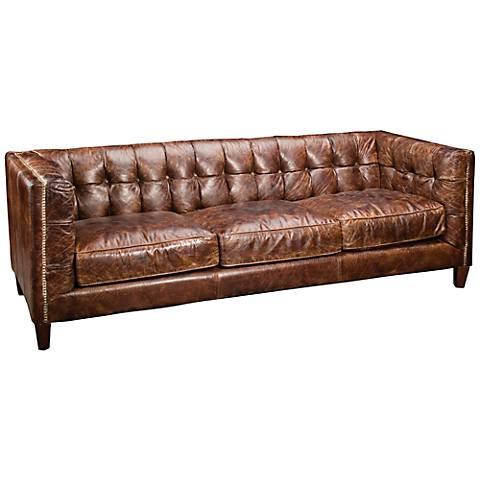 "Carnegie Abbott Cigar 84 1/2"" Wide Top Grain Leather Sofa"