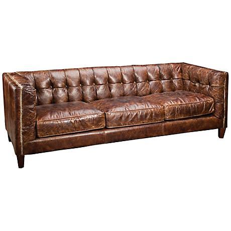 Carnegie Abbott Cigar Top Grain Leather Sofa