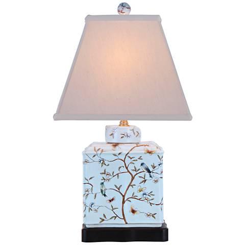 "Floral 20"" High Rectangular Porcelain Jar Accent Table Lamp"
