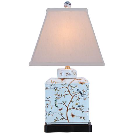 Floral Porcelain Rectangular Jar Table Lamp