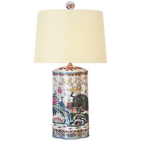 Japanese Garden Floral Porcelain Table Lamp