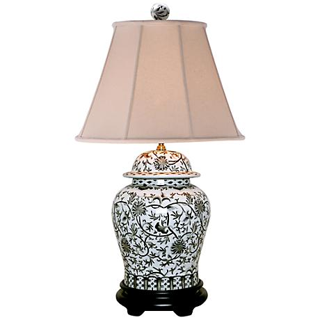 black and white floral temple jar table lamp 2y547 lamps plus. Black Bedroom Furniture Sets. Home Design Ideas