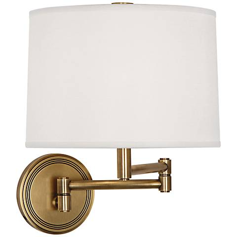 robert abbey sofia antique brass swing arm wall lamp 2y596 lamps plus. Black Bedroom Furniture Sets. Home Design Ideas