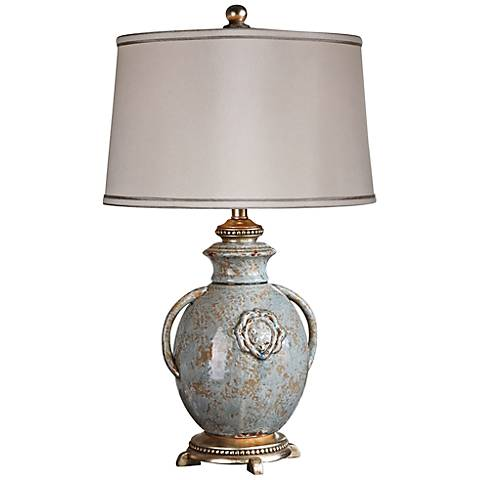 Uttermost Cancello Distressed Blue Glaze Table Lamp