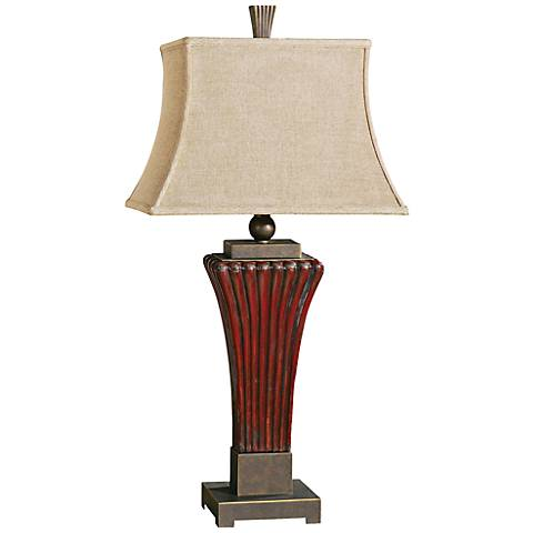 Uttermost Rosso Ribbed Ceramic Dark Red Table Lamp