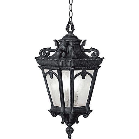 "Kichler Tournai 24 3/4"" High Black Outdoor Hanging Light"
