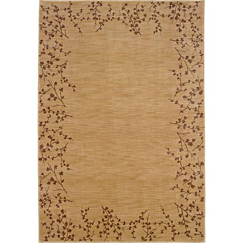 Cherry Blossom Border Beige Area Rug