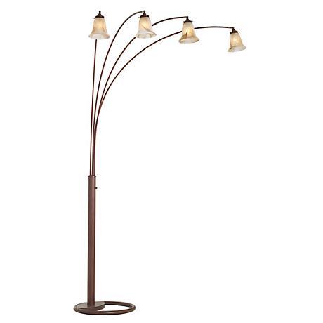 Four Arm Marbleized Glass Arc Floor Lamp