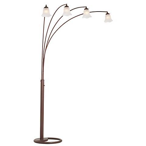 Four Arm Bronze Finish Scalloped Glass Arc Floor Lamp